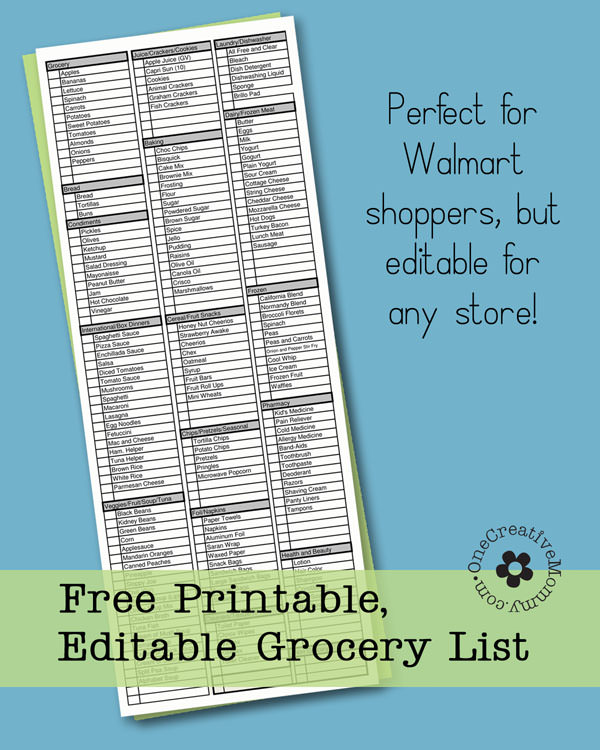 Shop more quickly with this printable and editable grocery list from OneCreativeMommy.com. No more backtracking to find items you missed because your list was unorganized! {It's editable, too!}