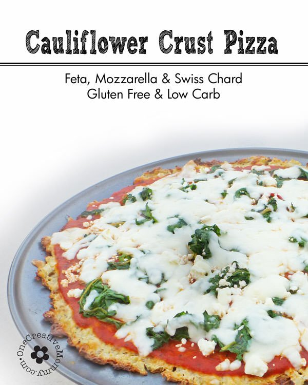 Gluten Free Cauliflower Crust Pizza with Feta and Swiss Chard--Low Carb! {OneCreativeMommy.com}