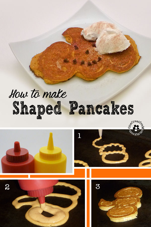How to Make Shaped Pancakes {OneCreativeMommy.com} Pumpkin Shaped Pancakes are perfect for Fall!