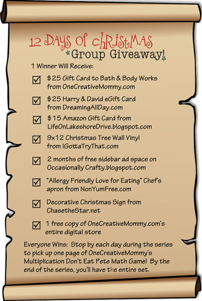 12 Days of Christmas Group Giveaway Prize List