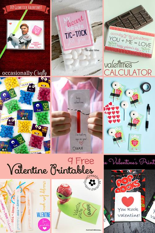 Roundup--9 Printable Valentines ready for delivery at your next class party!  {OneCreativeMommy.com}