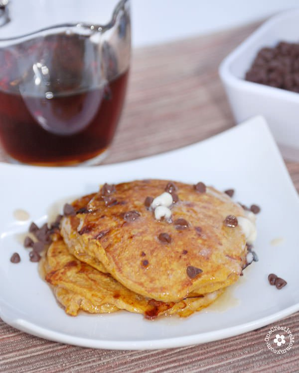 Gluten Free Pumpkin Pancakes with Chocolate Chips {My kiddos love to eat this gluten-free breakfast for dinner! Cottage cheese makes them high in protein.} OneCreativeMommy.com