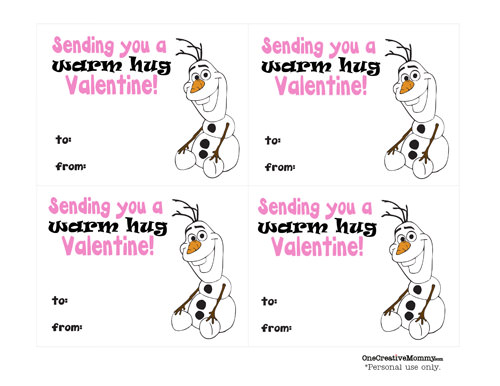 "Frozen ""Warm Hugs"" Valentines {Free Printable from OneCreativeMommy.com}  Just print, cut, and add a hug!"