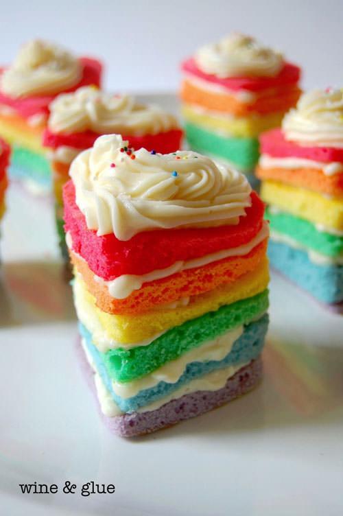 Rainbow Heart Cakes from Wine & Glue
