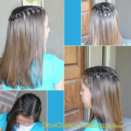 Waterfall Braid -- It works a little differently on thin hair, but it still works! {OneCreativeMommy.com}