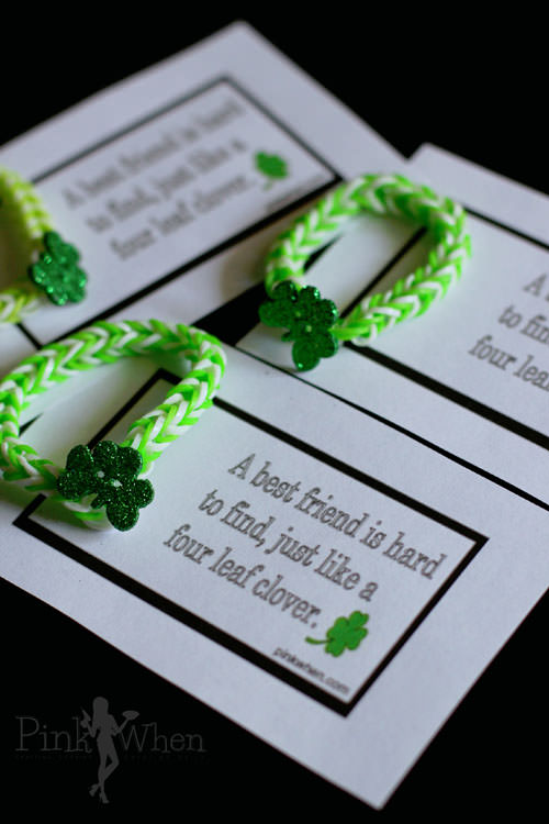 Rainbow Loom Lucky Charm Bracelet and Free Printable from Pink When