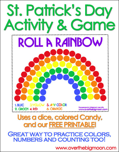 Roll A Rainbow St. Patrick's Day Activity & Game from Over the Big Moon