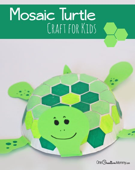 Mosaic Turtle Craft for Kids: Kid Tested Fun! {Check out the tutorial for the cute turtles on OneCreativeMommy.com}