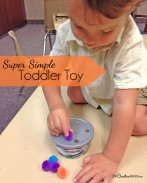 Kids have fun and stay busy while developing fine motor skills with this simple to make toddler toy (OneCreativeMommy.com}